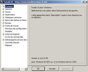 Capture d'écran de Tweak UI 2.10